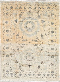 Vintage Muted Color Sultanabad Persian Hand-Knotted 4x6 Area Rug