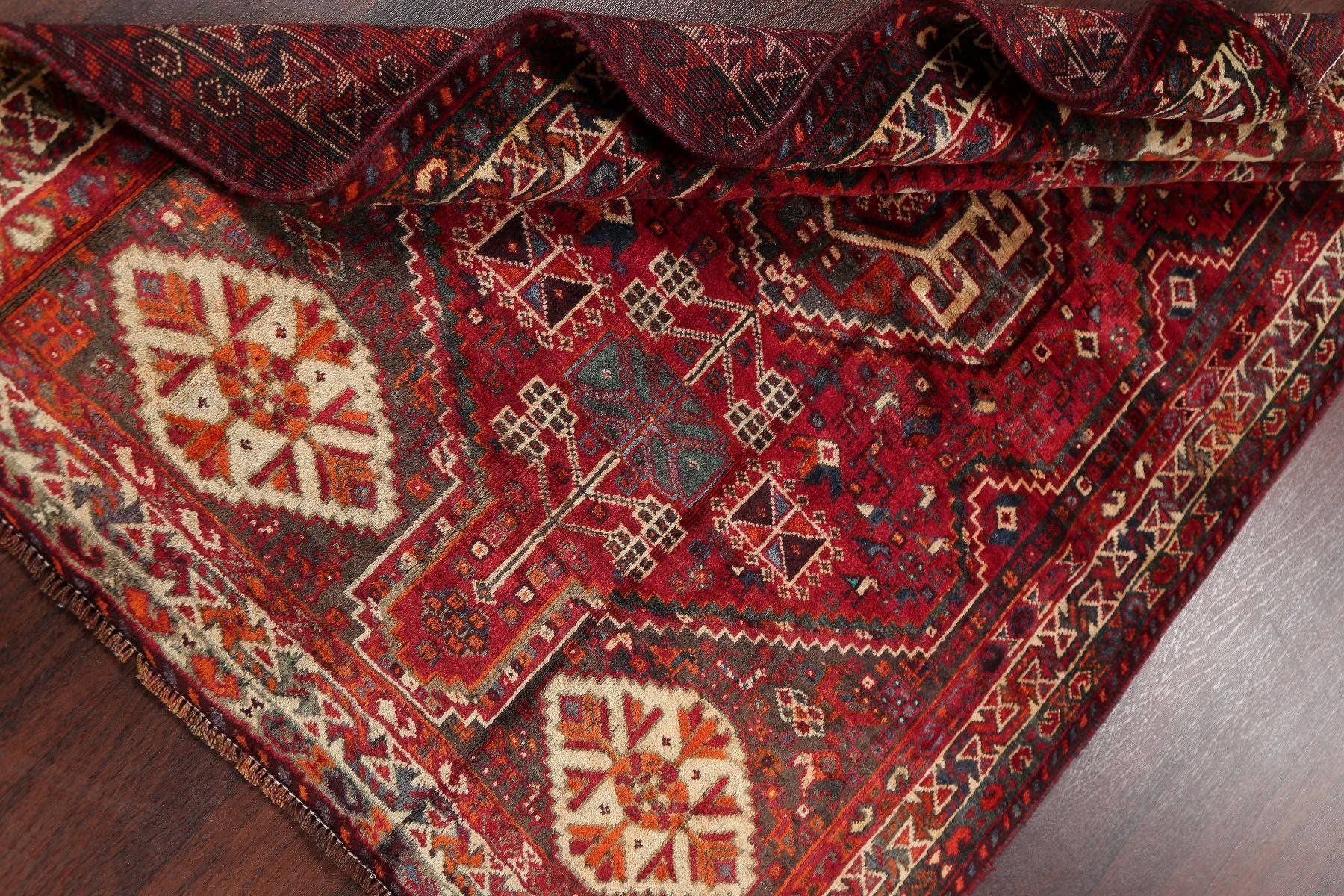 Geometric Tribal Abadeh Persian Hand-Knotted 4x6 Wool Area Rug