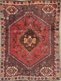 Geometric Tribal Shiraz Persian Hand-Knotted 4x5 Wool Area Rug