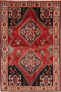Red Geometric Shiraz Persian Hand-Knotted 4x6 Wool Area Rug