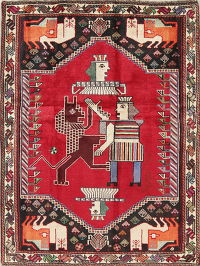 Tribal Pictorial Shiraz Persian Hand-Knotted 4x5 Wool Area Rug