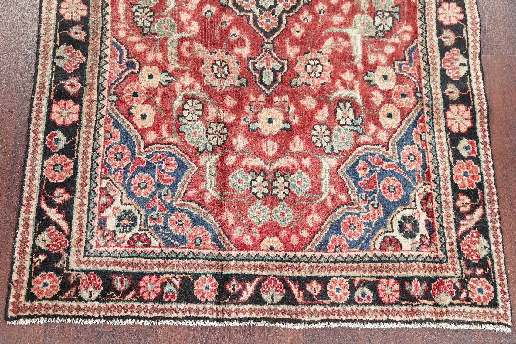 Antique Floral Sarouk Mahal Persian Hand-Knotted 4x6 Wool Area Rug