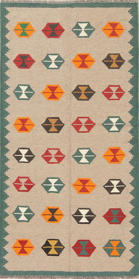 Geometric Kilim Shiraz Persian Hand-Woven 3x6 Wool Runner Rug