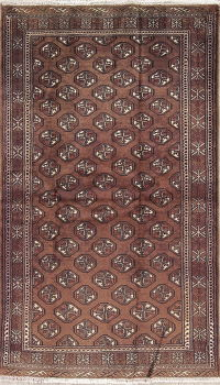 Brown Geometric Bokhara Pakistan Hand-Knotted 3x6 Wool Runner Rug