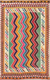 Zig/Zag Design Color-full Kilim Shiraz Persian Hand-Woven 4x7 Wool Area Rug