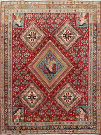 Antique Vegetable Dye Kashkoli Persian Hand-Knotted 7x9 Wool Area Rug