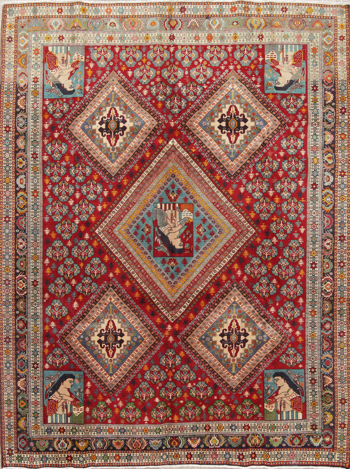 Persian Hand Knotted 7x9 Wool Area Rug
