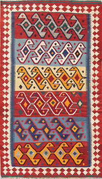 Geometric Kilim Shiraz Persian Hand-Woven 4x7 Wool Area Rug