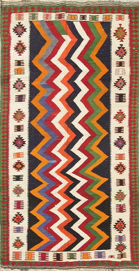 Geometric Kilim Shiraz Persian Hand-Woven 4x8 Wool Runner Rug