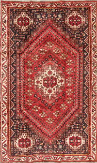 Red Geometric Shiraz Persian Hand-Knotted 5x9 Wool Area Rug