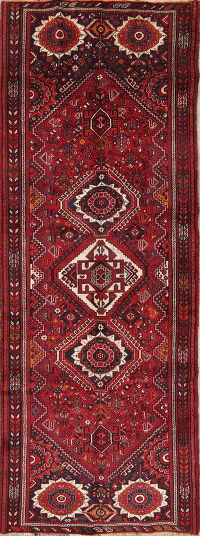Tribal Geometric Shiraz Persian Hand-Knotted 4x11 Wool Runner Rug