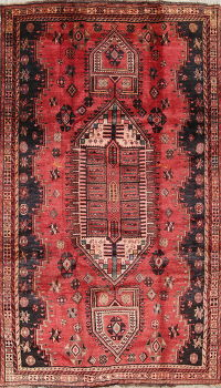 Geometric Shiraz Persian Hand-Knotted 5x9 Wool Area Rug