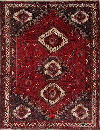 Tribal Semi-Antique Shiraz Persian Hand-Knotted 7x9 Wool Area Rug
