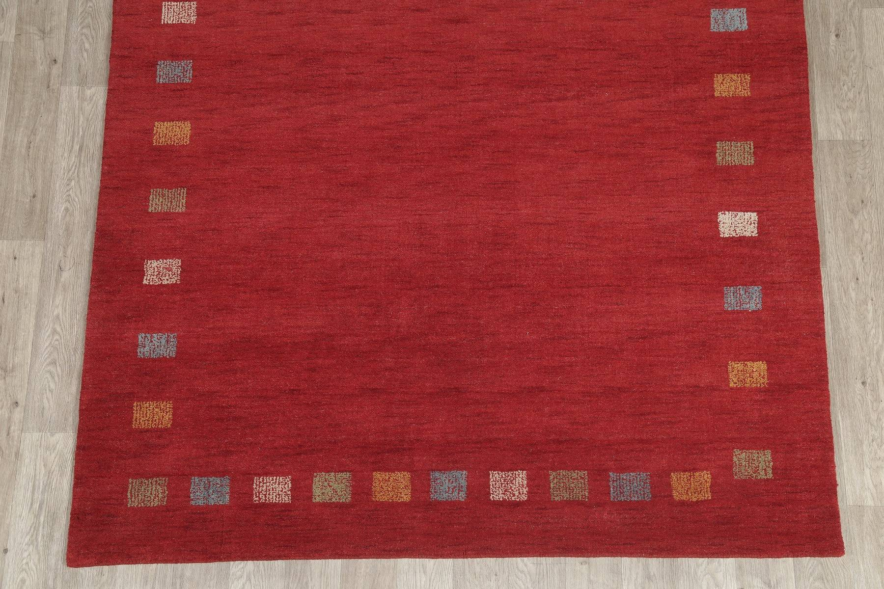 Modern Gabbeh Indian Oriental Hand-Knotted 7x10 Wool Area Rug
