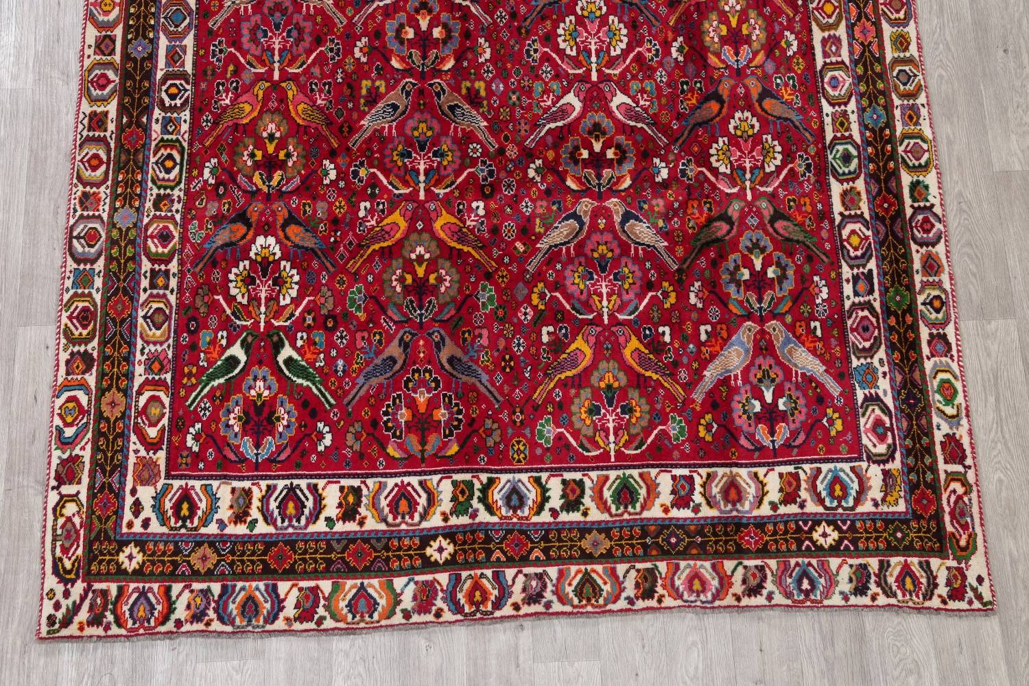 Animal Pictorial Kashkoli Persian Hand-Knotted 7x10 Wool Area Rug image 5