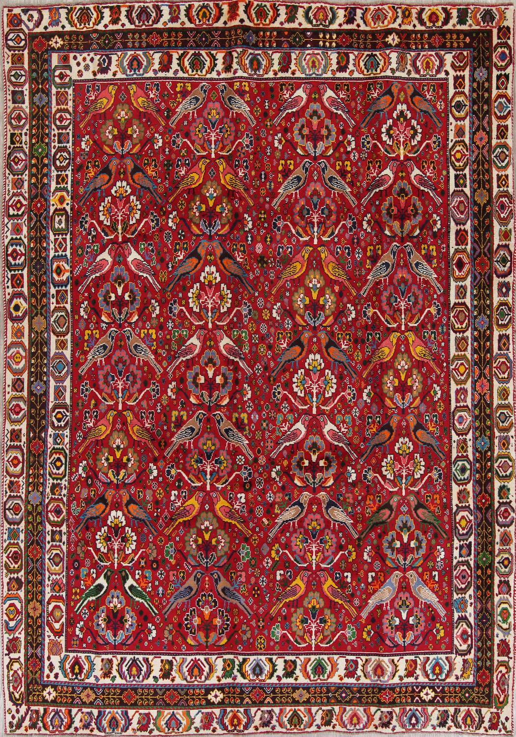 Animal Pictorial Kashkoli Persian Hand-Knotted 7x10 Wool Area Rug image 1