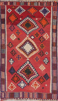 Geometric Red Kilim Qashqai Persian Hand-Woven 5x8 Wool Area Rug