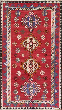 Geometric Red Kilim Persian Hand-Woven 6x9 Wool Area Rug