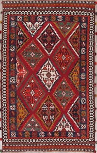 Geometric Red Kilim Persian Hand-Woven 5x8 Wool Area Rug