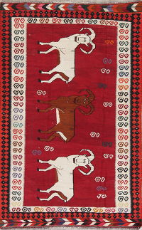 Animal Pictorial Kilim Qashqai Persian Hand-Woven 5x7 Wool Area Rug