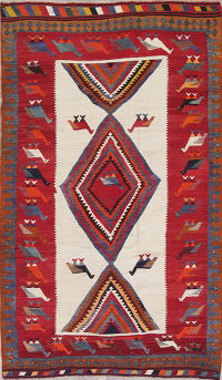 Animal Pictorial Kilim Kashkoli Persian Hand-Woven 6x9 Wool Area Rug