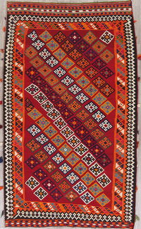 All-Over Kilim Qashqai Persian Hand-Woven 5x9 Wool Area Rug