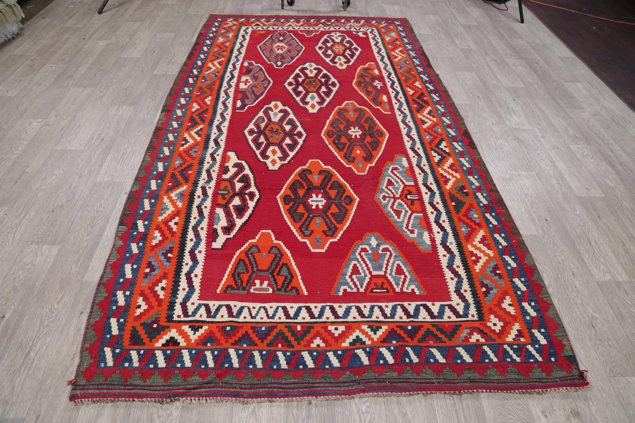 Geometric Red Kilim Persian Hand-Woven 5x10 Wool Runner Rug