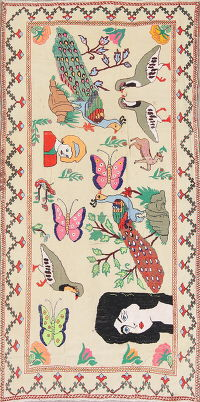 Animal Pictorial Kilim Persian Hand-Woven 4x8 Wool Runner Rug