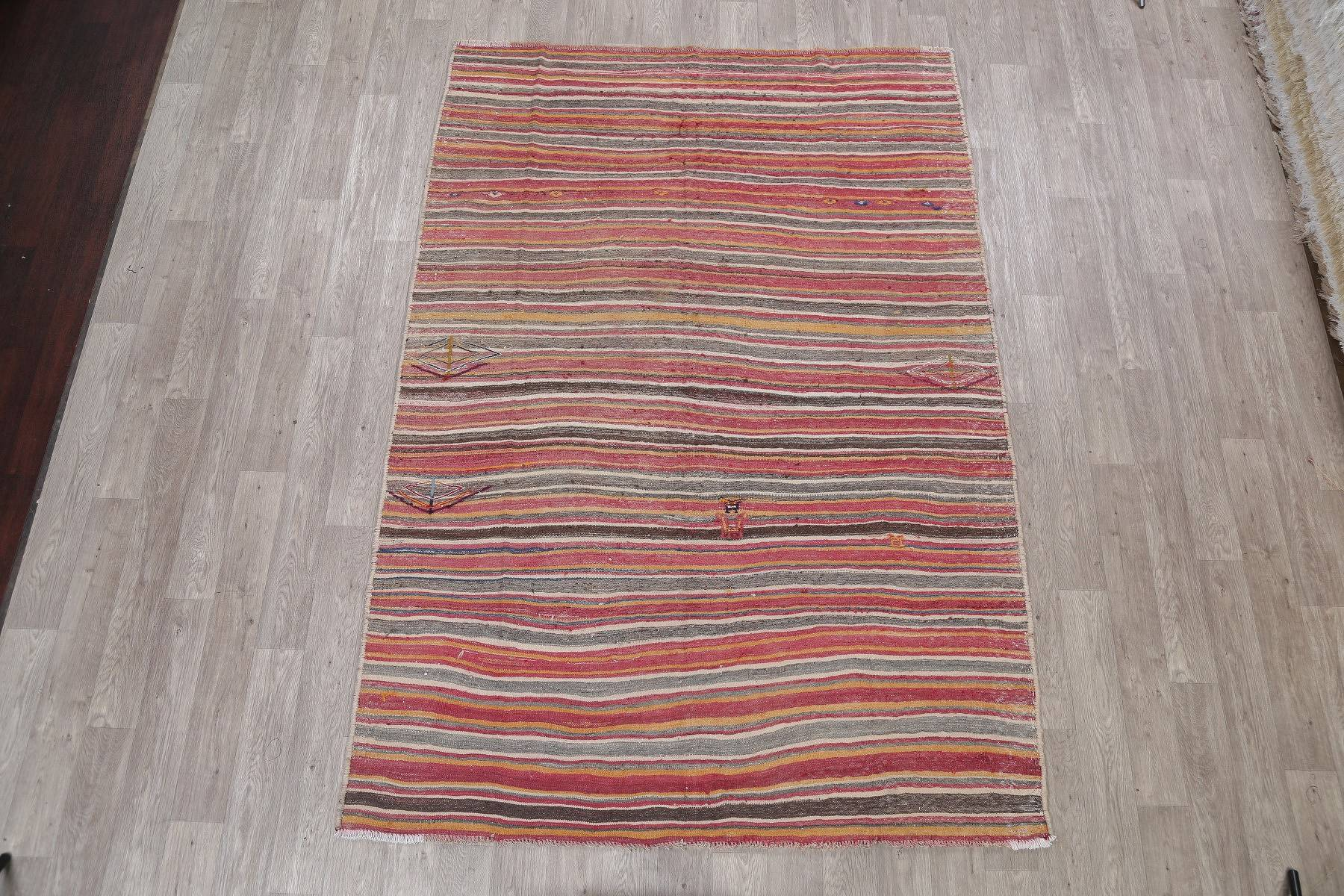 Stripe Semi-Antique Kilim Persian Hand-Woven 6x9 Wool Area Rug