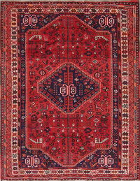 Tribal Geometric Shiraz Persian Hand-Knotted 5x7 Wool Area Rug