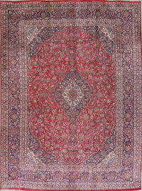 Traditional Floral Mashad Persian Hand-Knotted 9x13 Wool Area Rug