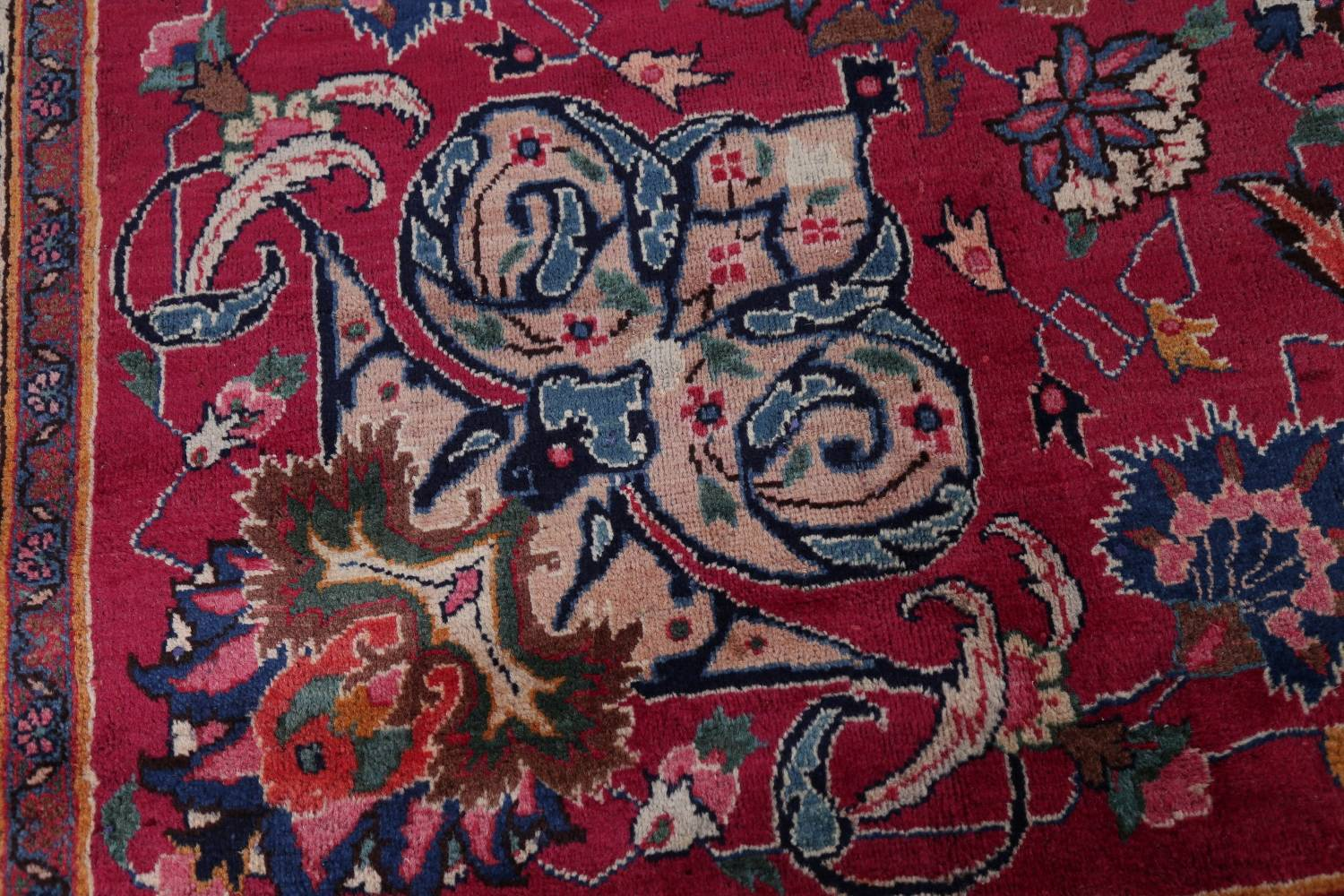 Antique Geometric Mashad Persian Hand-Knotted 10x13 Wool Area Rug image 7