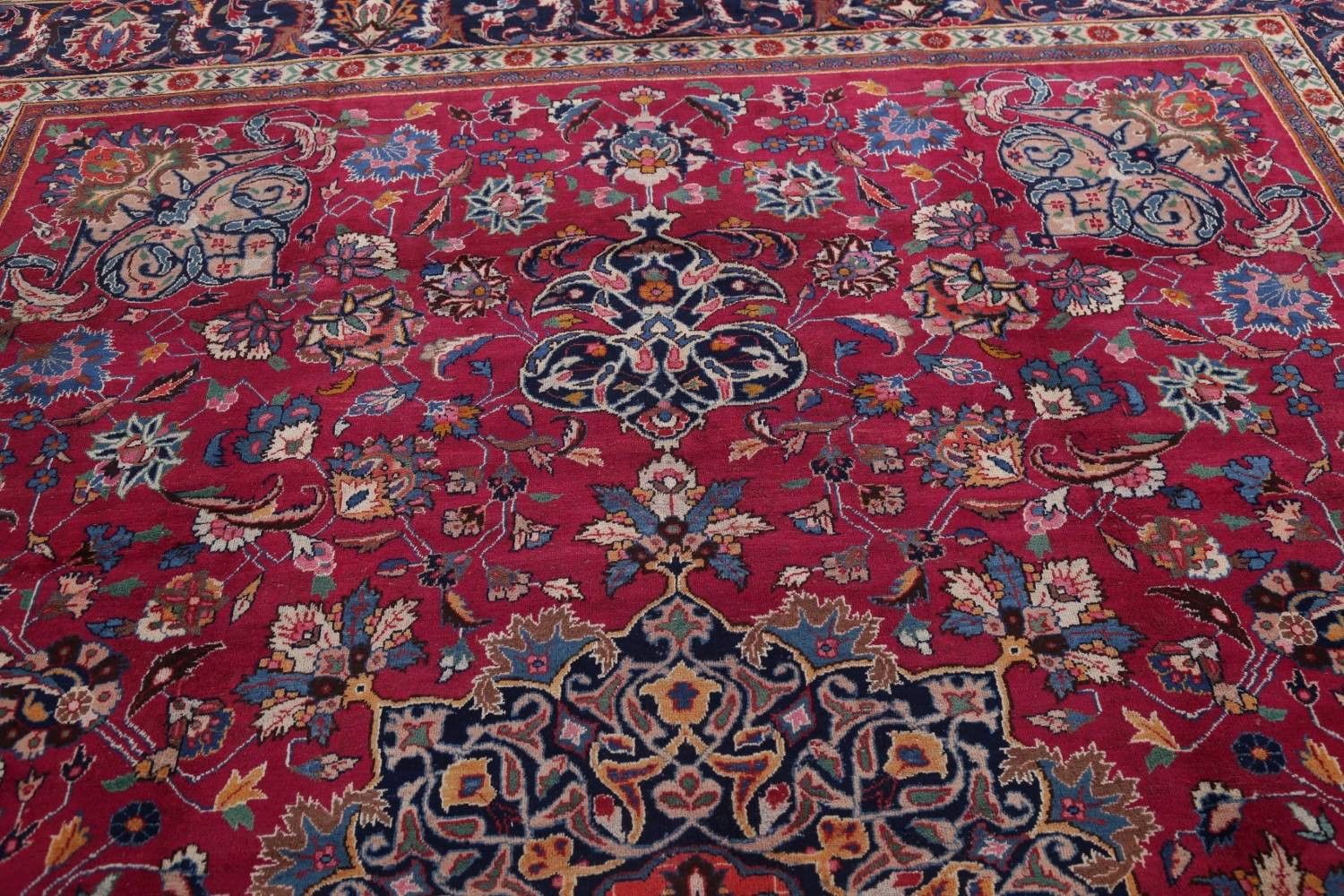 Antique Geometric Mashad Persian Hand-Knotted 10x13 Wool Area Rug image 12