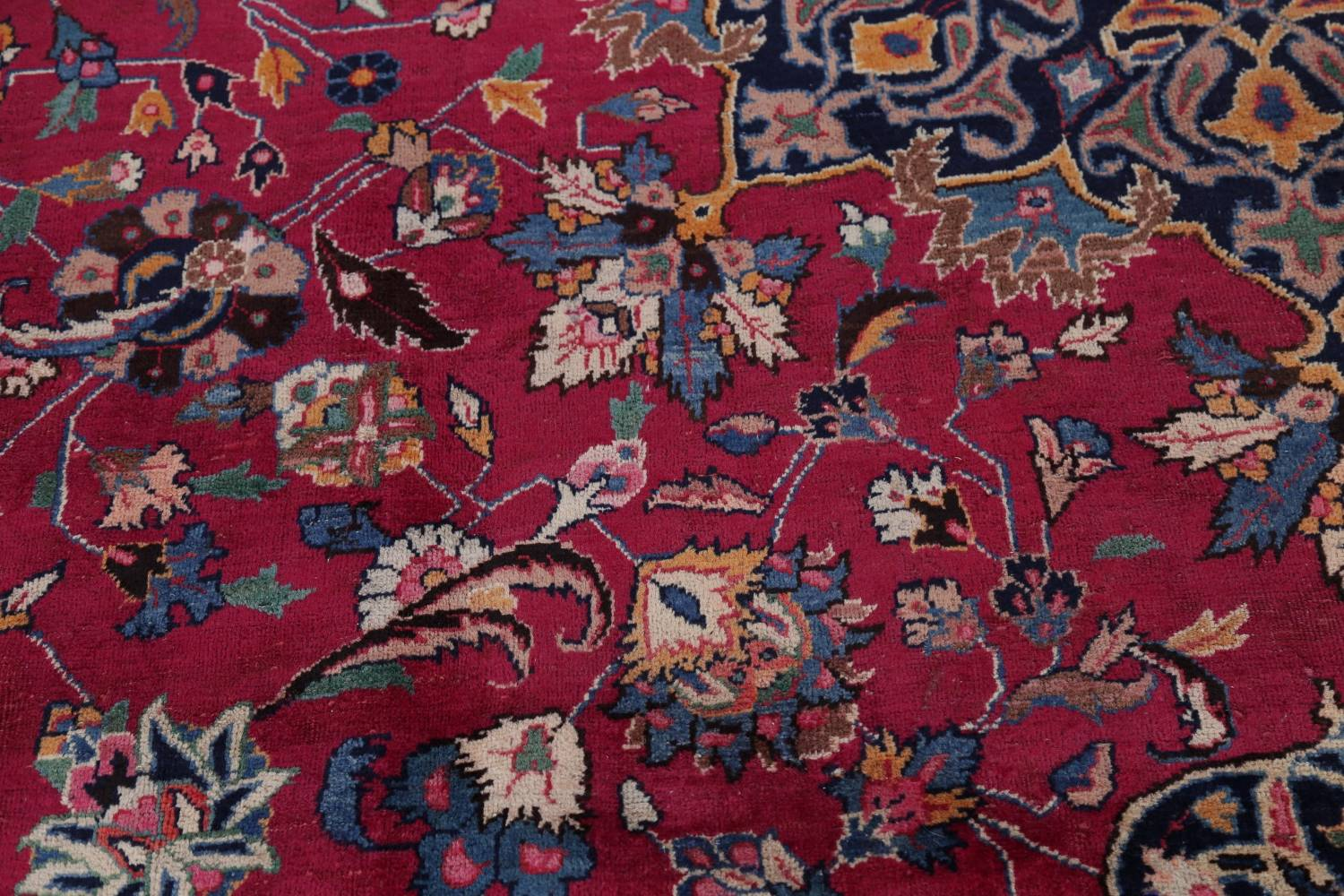 Antique Geometric Mashad Persian Hand-Knotted 10x13 Wool Area Rug image 9
