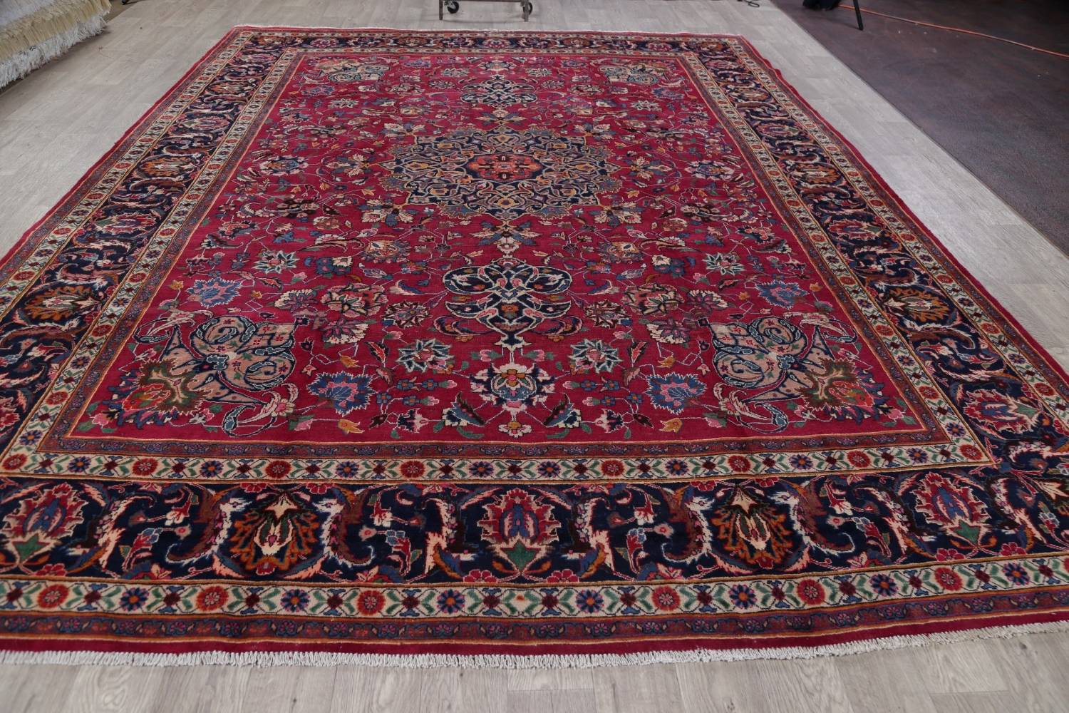 Antique Geometric Mashad Persian Hand-Knotted 10x13 Wool Area Rug image 14