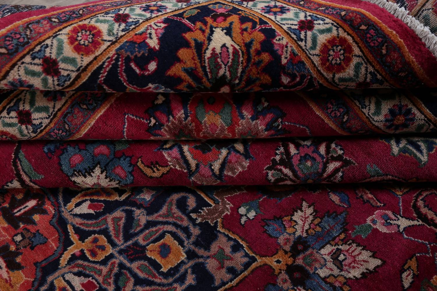 Antique Geometric Mashad Persian Hand-Knotted 10x13 Wool Area Rug image 16