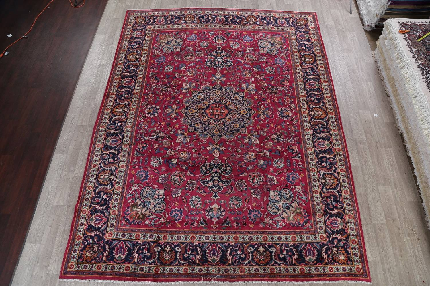 Antique Geometric Mashad Persian Hand-Knotted 10x13 Wool Area Rug image 2
