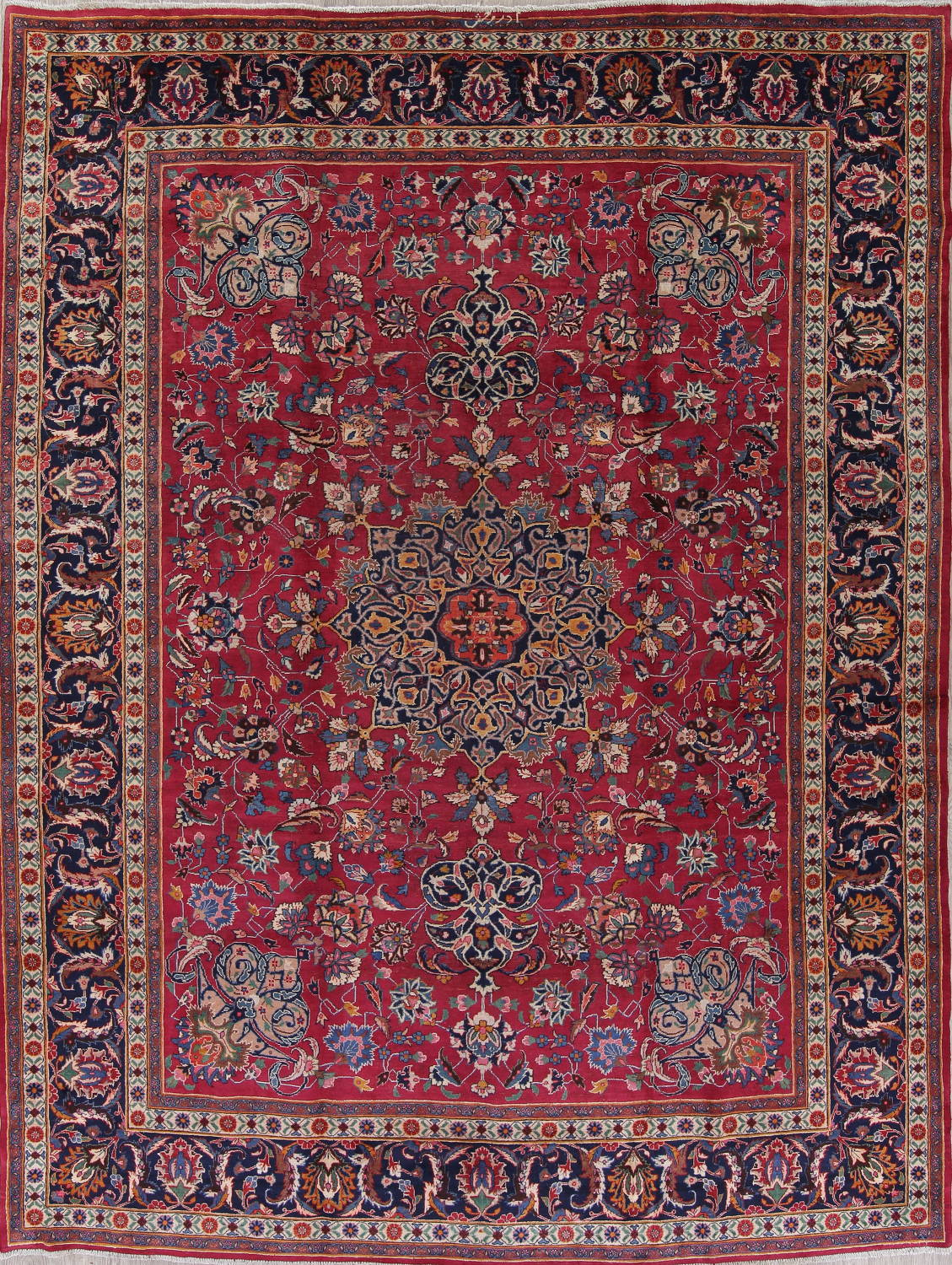 Antique Geometric Mashad Persian Hand-Knotted 10x13 Wool Area Rug image 1