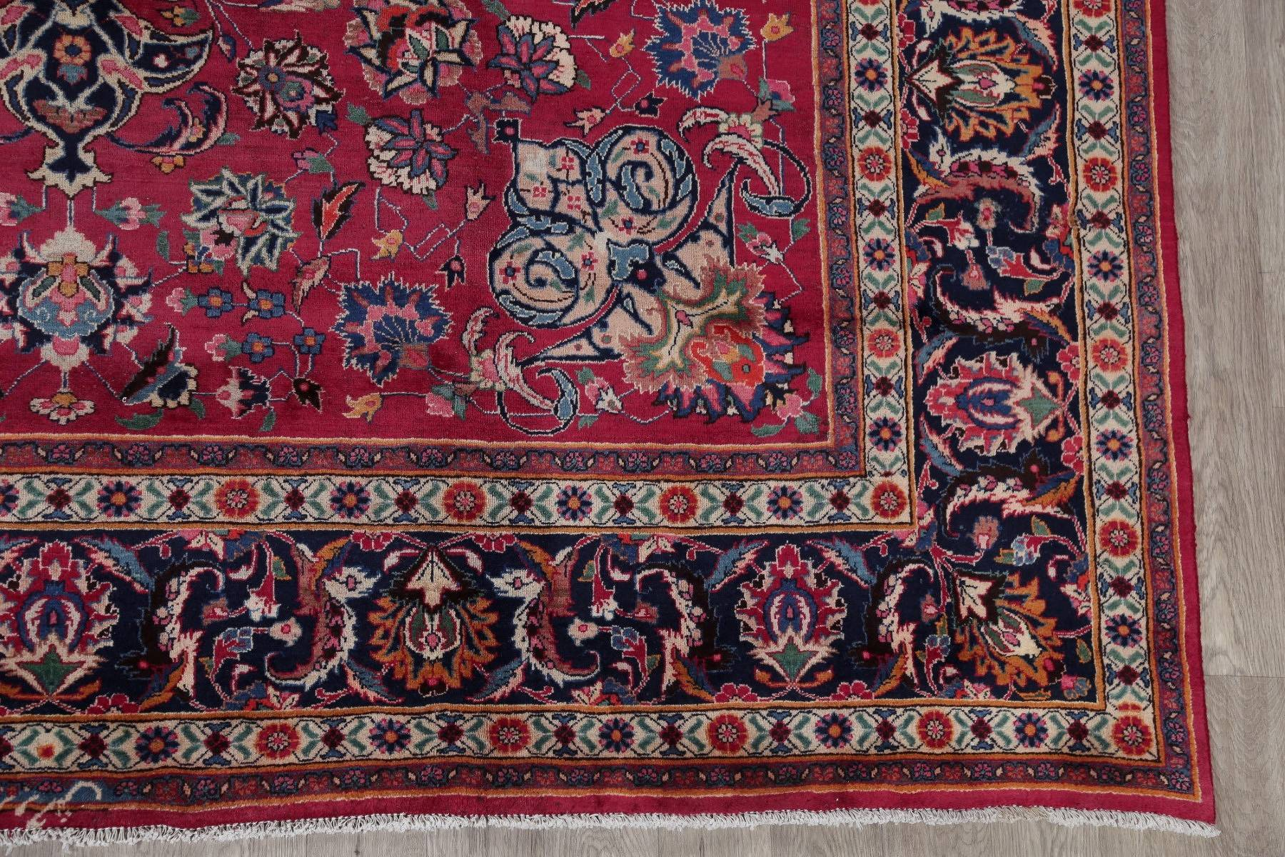 Antique Geometric Mashad Persian Hand-Knotted 10x13 Wool Area Rug