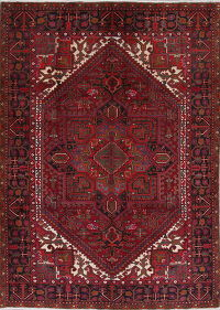 Red Geometric Heriz Persian Hand-Knotted 7x9 Wool Area Rug