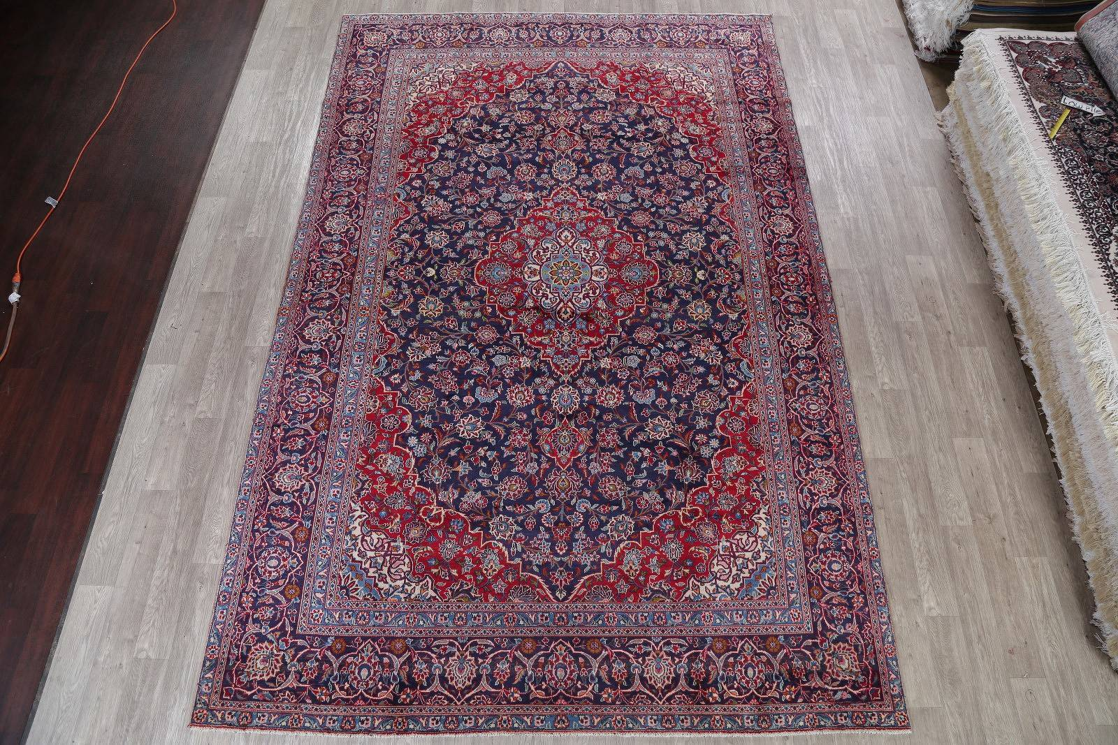 Traditional Navy Kashan Persian Hand-Knotted 9x13 Wool Area Rug