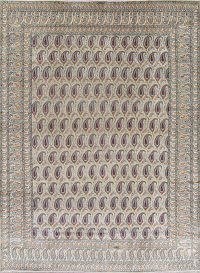All-Over Paisley Kashan Persian Hand-Knotted 9x12 Wool Area Rug
