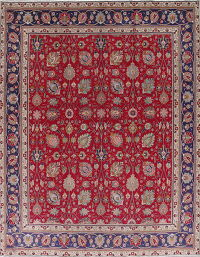 All-Over Floral Tabriz Persian Hand-Knotted 10x13 Wool Area Rug
