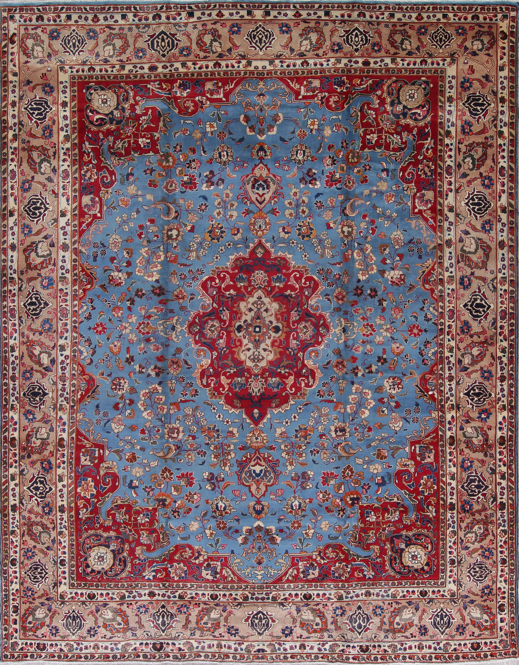 Blue Floral Mashad Persian Hand-Knotted 10x12 Wool Area Rug