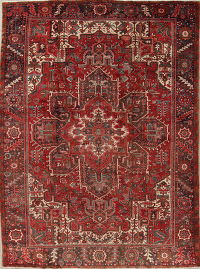 Red Geometric Heriz Persian Hand-Knotted 9x12 Wool Area Rug
