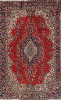 Red Geometric Tabriz Persian Hand-Knotted 9x13 Wool Area Rug
