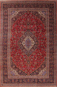 Traditional Floral Kashan Persian Hand-Knotted 10x16 Wool Rug