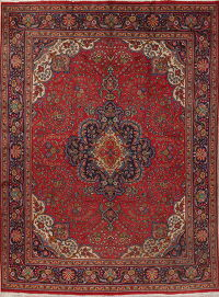 Floral Red Tabriz Persian Hand-Knotted 10x13 Wool Area Rug