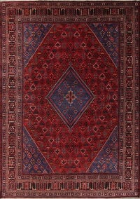 Antique Geometric Joshaghan Persian Hand-Knotted 11x14 Wool Rug