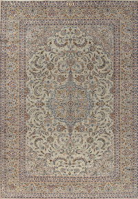 Traditional Green Kashan Persian Hand-Knotted 9x13 Wool Area Rug